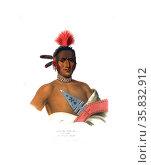 Moa-Na-Hon-Ga. Great Walker. An Ioway chief. Редакционное фото, агентство World History Archive / Фотобанк Лори