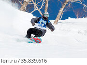 KAMCHATKA, RUSSIA - MARCH 9, 2014: Snowboarder rides steep mountains... Стоковое фото, фотограф Zoonar.com/Alexander A. Piragis / age Fotostock / Фотобанк Лори