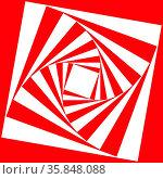 Spiralen Muster aus versetzten Quadraten in Rot und Weiß als psychedelische... Стоковое фото, фотограф Zoonar.com/Robert Kneschke / age Fotostock / Фотобанк Лори