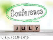 July conference message on a stage in the summer. Стоковое фото, фотограф Zoonar.com/Kasper Nymann / age Fotostock / Фотобанк Лори