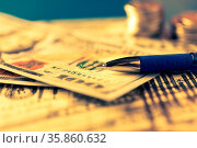 Business and financial background with dollars, charts, pen and stacks... Стоковое фото, фотограф Zoonar.com/BASHTA / easy Fotostock / Фотобанк Лори