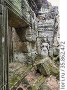 Bas relief at Preah Kahn temple. Siem Reap. Cambodia. Стоковое фото, фотограф Marco Brivio / age Fotostock / Фотобанк Лори