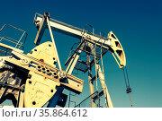 Oil pumpjack, industrial equipment. Rocking machines for power genertion... Стоковое фото, фотограф Zoonar.com/BASHTA / easy Fotostock / Фотобанк Лори