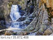 Purgatorio waterfall in the Aguilón stream. Rascafría. Madrid. Spain. Стоковое фото, фотограф María del Valle Martín Morales / age Fotostock / Фотобанк Лори