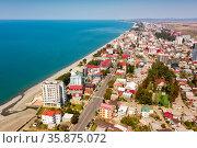 Panoramic view of coast of Kobuleti, Georgia. Стоковое фото, фотограф Яков Филимонов / Фотобанк Лори