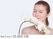 Shirtless young woman with eyes closed smelling a bunch of beautiful white flowers, studio shot. Стоковое фото, агентство Ingram Publishing / Фотобанк Лори