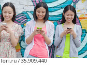 Three smiling young woman standing side by side and texting on their phones in front of a wall with graffiti. Стоковое фото, агентство Ingram Publishing / Фотобанк Лори
