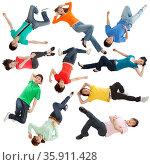 Young people lying at random. Стоковое фото, агентство Ingram Publishing / Фотобанк Лори