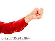 Entschlossener Mann zeigt geballte Faust beim Kämpfen. Стоковое фото, фотограф Zoonar.com/Robert Kneschke / age Fotostock / Фотобанк Лори