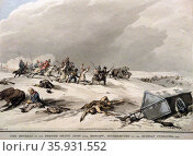 Aquatint with hand-colouring titled 'The Retreat of the French Grand Army from Moscow Intercepted by the Russian Cossacks' by John Augustus Atkinson. Редакционное фото, агентство World History Archive / Фотобанк Лори