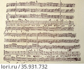 Facsimile of a page from an original score of 'The Massiah' by Handel. Редакционное фото, агентство World History Archive / Фотобанк Лори