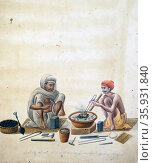 Watercolour illustration of a silversmith and his assistant. Редакционное фото, агентство World History Archive / Фотобанк Лори