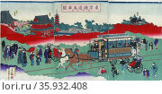 Print, woodcut, colour. Horse drawn carriage on railroad tracks. Print shows a western-style horse drawn railroad passenger car with passengers. Редакционное фото, агентство World History Archive / Фотобанк Лори