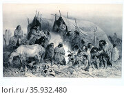 Patagonian natives in Patagonia, Chile, 1838. Редакционное фото, агентство World History Archive / Фотобанк Лори