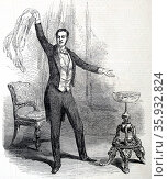 Jean Eugene ROBERT-HOUDIN - 1805-1871'Father of modern conjuring' performing at St James's Theatre, London, December 1848. Employed by French government to destroy the influence of the Dervishes in Algeria by exposing their 'tricks'. Used batteries to give Algerians electric shocks, demonstrating that he had the more powerful 'magic'. Редакционное фото, агентство World History Archive / Фотобанк Лори