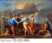 Painting titled 'A Dance to the Music of Time' by Nicolas Poussin. Редакционное фото, агентство World History Archive / Фотобанк Лори
