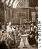 King Charles II (Carlos II) (1661 – 1700) last Habsburg ruler of Spain celebrates Eucharist. Редакционное фото, агентство World History Archive / Фотобанк Лори