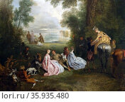 Painting tilted 'The Halt During the Chase' by Jean-Antoine Watteau. Редакционное фото, агентство World History Archive / Фотобанк Лори