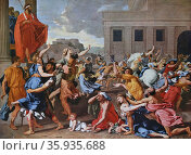 Painting titled 'The Abduction of the Sabine Women' by Nicolas Poussin. Редакционное фото, агентство World History Archive / Фотобанк Лори