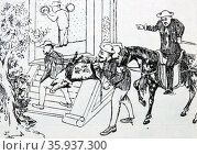 Anti-Christian cartoon depicting a hog, representing Christianity, being carried to the door of Confucius, who will have nothing to do with it. Редакционное фото, агентство World History Archive / Фотобанк Лори