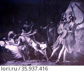 José de Madrazo's painting of the death of Viriatus. Редакционное фото, агентство World History Archive / Фотобанк Лори