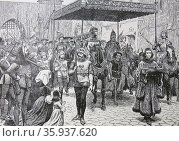 Engraving depicting the State Entry of Pope John XXII into Constance for the famous council. Редакционное фото, агентство World History Archive / Фотобанк Лори