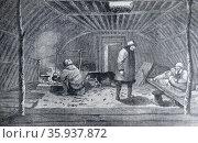 Russian peasants in a hut; Kamchatka; Eastern Imperial Russia 1850. Редакционное фото, агентство World History Archive / Фотобанк Лори