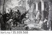 Painting depicting the pillage of a Roman villa by Marauding Huns. Редакционное фото, агентство World History Archive / Фотобанк Лори
