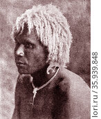 Tribesman from the Solomon Islands in Oceania, to the east of Papua New Guinea. 1880. Редакционное фото, агентство World History Archive / Фотобанк Лори