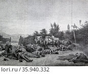 An Episode in the Campaign of 1848: The Troops Resting Before the Battle of Schleswig by I. Senne. Редакционное фото, агентство World History Archive / Фотобанк Лори