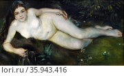 Painting titled 'A Nymph by a Stream' by Pierre-Aguste Renoir. Редакционное фото, агентство World History Archive / Фотобанк Лори