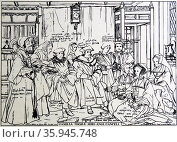 Engraving depicting the noble family of Sir Thomas More. Редакционное фото, агентство World History Archive / Фотобанк Лори