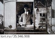 Photograph of Prince Albert driving a tram (2016 год). Редакционное фото, агентство World History Archive / Фотобанк Лори