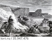 Burning kelp on the Brittany coast in France, to obtain soda. 1870 (2016 год). Редакционное фото, агентство World History Archive / Фотобанк Лори
