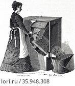 Maid using the Empire Dustless Ash Sifter, invented by J.E. Cummings. New York 1878 (2013 год). Редакционное фото, агентство World History Archive / Фотобанк Лори