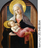 Painting titled 'The Virgin and Child' by Filippo Lippi. Редакционное фото, агентство World History Archive / Фотобанк Лори