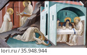 Detail from the painting depicting 'Incidents in the Life and Death of Saint Benedict' by Lorenzo Monaco. Редакционное фото, агентство World History Archive / Фотобанк Лори