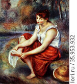 Painting titled 'Girl Wiping her Feet' by Pierre-Auguste Renoir. Редакционное фото, агентство World History Archive / Фотобанк Лори