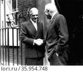 Photograph of Mr John Foster Dulles, US Secretary of State, is shown shaking hands with Sir Anthony Eden. Редакционное фото, агентство World History Archive / Фотобанк Лори