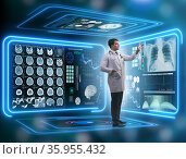 Team of doctor in remote diagnostics examination concept. Стоковое фото, фотограф Elnur / Фотобанк Лори