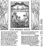 Poem titled 'Our Wherry Waits' by Edward Oxenford with illustration. Редакционное фото, агентство World History Archive / Фотобанк Лори
