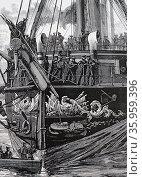 Illustration depicting the German flagship König Wilhelm. Редакционное фото, агентство World History Archive / Фотобанк Лори