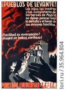 Spanish Civil War poster 'Pueblos de Levante! Редакционное фото, агентство World History Archive / Фотобанк Лори