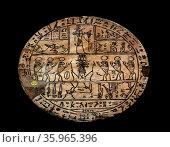 Bronze Hypocephali inscribed disc; Late Period and Ptolemaic era. 380-343 BC. Редакционное фото, агентство World History Archive / Фотобанк Лори