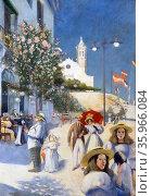 Painting depicting Twentieth-Century Sitges by Miquel Utrillo. Редакционное фото, агентство World History Archive / Фотобанк Лори