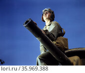 World War two, American M3 medium tank crewman. Редакционное фото, агентство World History Archive / Фотобанк Лори