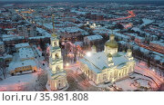 Evening view from above of the Spassky Cathedral in winter in Penza, Russia. Стоковое видео, видеограф Яков Филимонов / Фотобанк Лори