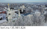 City of Murom. Aerial view of the Trinity Monasteries. Russia. Стоковое видео, видеограф Яков Филимонов / Фотобанк Лори