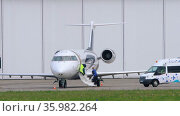 Private jet Mitsubishi Challenger. Редакционное видео, видеограф Игорь Жоров / Фотобанк Лори