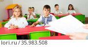 View from teacher of classroom with pupils. Стоковое фото, фотограф Яков Филимонов / Фотобанк Лори